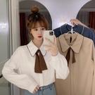 秋冬韓版新款蝴蝶結娃娃領法式減齡洋氣寬鬆長袖襯衫上衣女裝