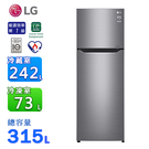 (含拆箱定位)LG 樂金315公升直驅變頻上下門冰箱 GN-L397SV