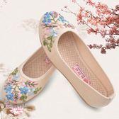 老北京布鞋女繡花鞋中老年平底女布鞋防滑透氣女單鞋老人鞋媽媽鞋  Cocoa