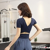 帶胸墊健身上衣女緊身顯瘦速干短袖露臍性感運動跑步瑜伽服 朵拉朵衣櫥