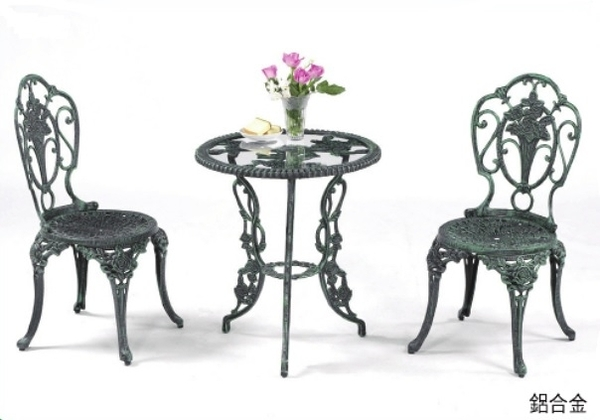 【南洋風休閒傢俱】戶外桌椅系列-戶外休閒桌椅組 鋁合金玫瑰玻璃桌椅組 ( L10-2)