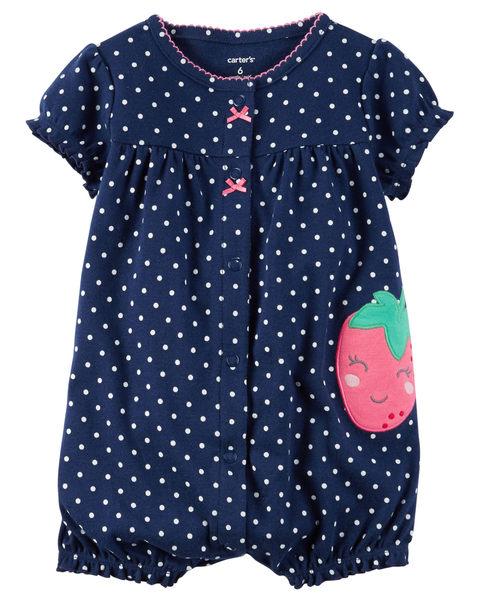 【美國Carter's】短袖純棉連身衣 - 點點小草莓 #118G943