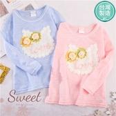 台灣製~搖花貓咪雙朵玫瑰薄長袖上衣-2色(300170)【水娃娃時尚童裝】