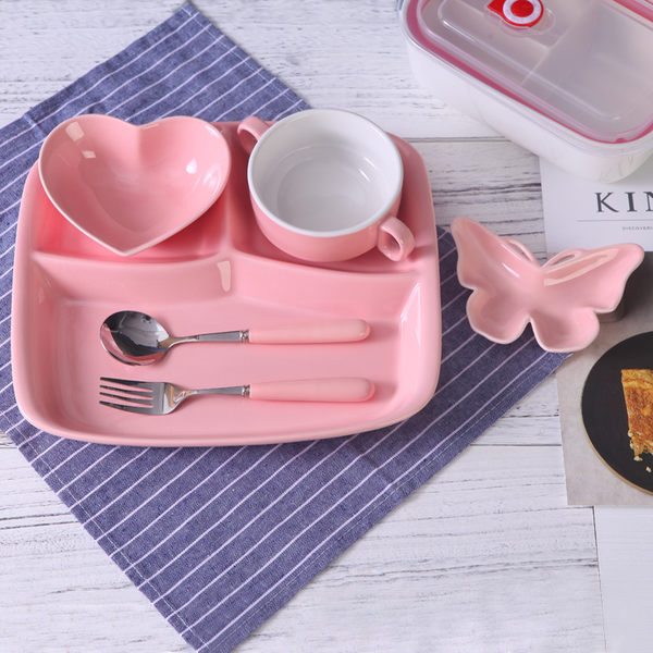 聖誕元旦鉅惠 出口日式分格盤陶瓷早餐快餐盤學生食堂飯菜盤分隔盤單人餐具套裝
