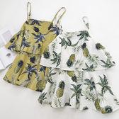 女夏短款寬鬆外穿菠蘿印花韓版女上衣
