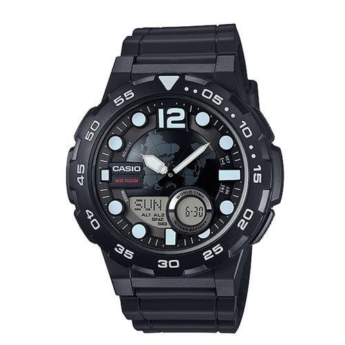 ◤10年電力錶款◢錶盤以世界地圖為設計/AEQ-100W-1AVDF