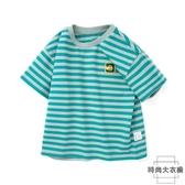 兒童T恤短袖男童條紋T恤【時尚大衣櫥】