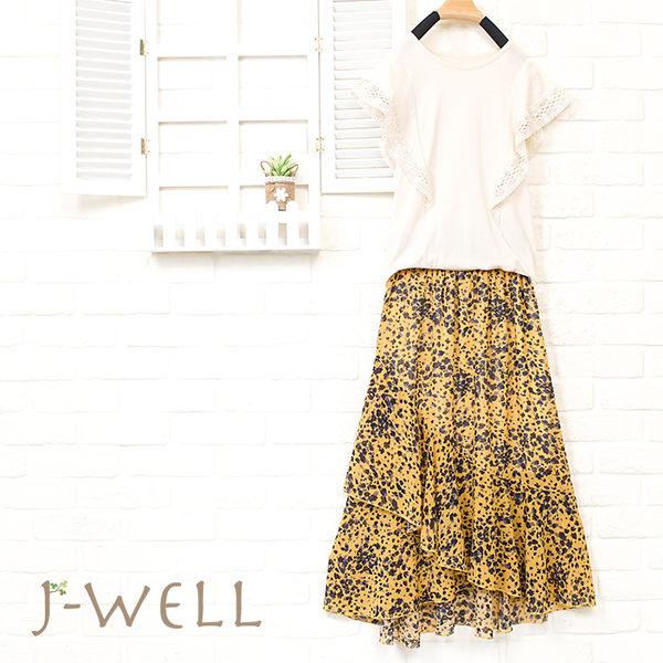 J-WELL 小資氣質款上衣長裙二件組(組合876 8J1478卡/粉/深藍F+8J1449黃/粉/黑F)