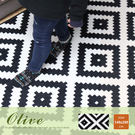 地毯 140*200cm‧Olive 奧麗芙現代風幾何圖案短毛地毯【H&D DESIGN】
