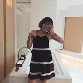 洋裝-細肩帶時尚黑白撞色蛋糕裙女連身裙73hd68【時尚巴黎】