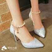 高跟涼鞋 新款高跟涼鞋女串珠尖頭銀色女鞋細跟單鞋韓版百搭鞋子 潮流小鋪