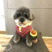 寵物狗春夏條紋帽衫背心衣服  雪納瑞泰迪比熊法斗