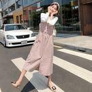 漂亮小媽咪 兩件式洋裝 【D3691】 喇叭袖 格紋 背心裙 洋裝 吊帶裙 孕婦裝 長裙