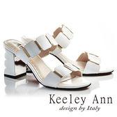 ★2018春夏★Keeley Ann摩登時尚~亮澤方塊波浪造型真皮粗高跟拖鞋(白色) -Ann系列