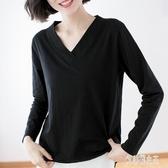 秋裝新款簡約體恤韓版長袖t恤女寬鬆大碼上衣竹節棉V領顯瘦打底衫 EY8552【艾菲爾女王】