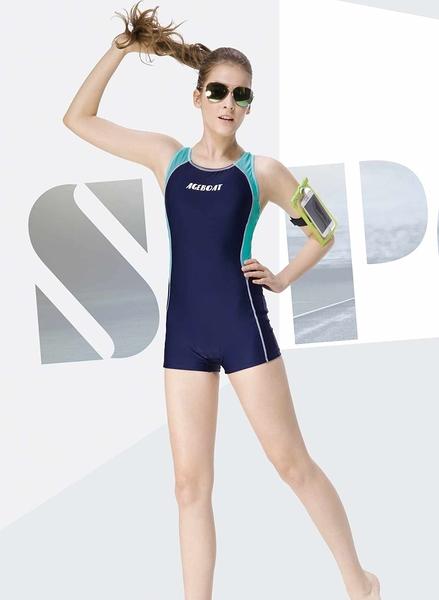 【K0387 】AGE BOAT世紀船特價款~運動風深藍底搭配淺藍配邊印字挖背連身四角泳裝(有大尺碼)  贈泳帽
