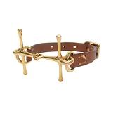 HERMES 愛馬仕 Mors bracelet 37 Gold焦糖色牛皮金色H字細版手環 C刻 【BRAND OFF】