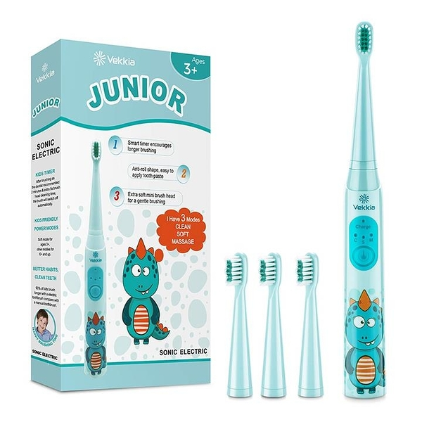 【美國代購】Vekkia Dragon Lord聲波可充電兒童電動牙刷 3種記憶模式 適用 歲以上 4個軟毛