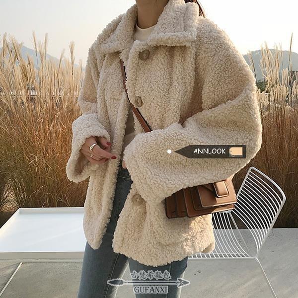 羊羔絨外套 秋冬新款加厚棉服女寬鬆韓版羊羔毛外套女冬季學生毛絨絨棉衣 - 古梵希