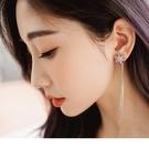 《ZC1152》雪花水鑽豎條練耳夾式耳環...