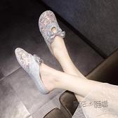 網紅花朵包頭網面拖鞋女2021新款外穿亞麻蕾絲懶人平底涼拖鞋 夏季狂歡