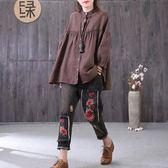 2018春季新品女裝文藝寬鬆超大碼蝙蝠型棉麻襯衫燈籠袖木耳邊上衣 東京衣櫃