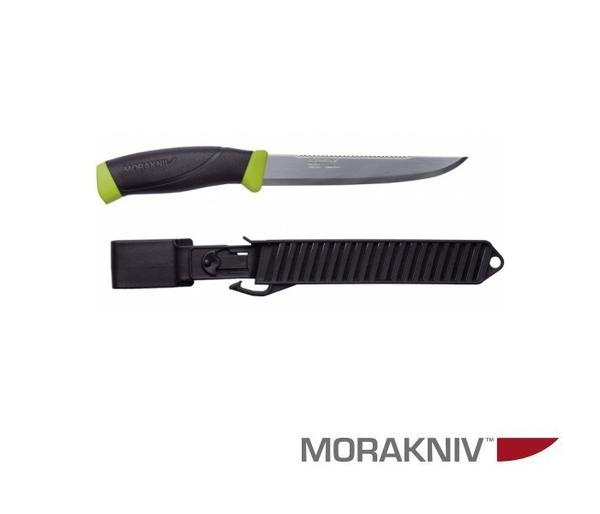 丹大【MORAKNIV】FISHING COMFORT SCALER 150 不鏽鋼戶外魚刀 鋸齒刀背 黑/綠11893