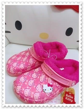 ♥小花花日本精品♥ Hello Kitty 拖鞋 室內鞋 勃肯鞋 絨毛內裡 粉色 滿版大臉 78926905