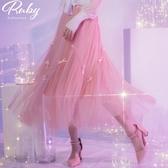 裙子 小蝴蝶結鬆緊紗裙長裙-Ruby s 露比午茶