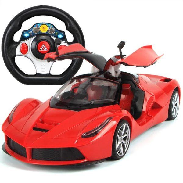 超大可充電一鍵開門方向盤遙控汽車漂移耐摔男孩兒童玩具賽車模型 大降價!免運8折起!