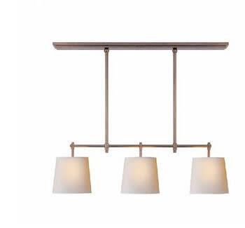 設計師美術精品館北歐宜家美式鄉村風格 餐廳書房仿古吊燈 三頭米白布罩吊燈