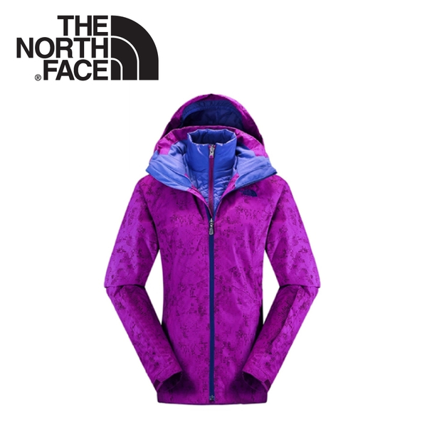 【The North Face 女 HV HS 兩件式外套《紫紅幾何印花》】CNN5/保暖/戶外/登山/賞雪