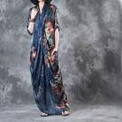 洋裝-文藝復古胸前交叉印花含吊帶裙/設計家