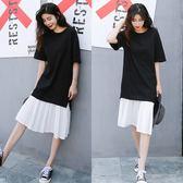 【GZ L2】短袖洋裝 韓版寬鬆假兩件百褶雪紡拼接連身長裙 洋裝