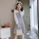 小香風洋裝 復古連衣裙秋季新款韓版修身顯瘦百搭甜美長袖拼接裙子 - 古梵希
