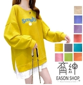 EASON SHOP(GW8304)實拍OVERSIZE假兩件微笑撞色字母印花側開衩落肩長袖素色棉T恤裙女大尺碼內搭寬版