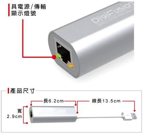 [哈GAME族]免運 伽利略 USB3.0 10/100/1000 Giga Lan 高速 網路卡 鋁合金 AU3HDV