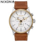 NIXON手錶 稍息立正我愛你 王子配戴款 原廠總代理 A405-2548 THE Sentry Chrono Leather咖色 潮流時尚皮錶帶