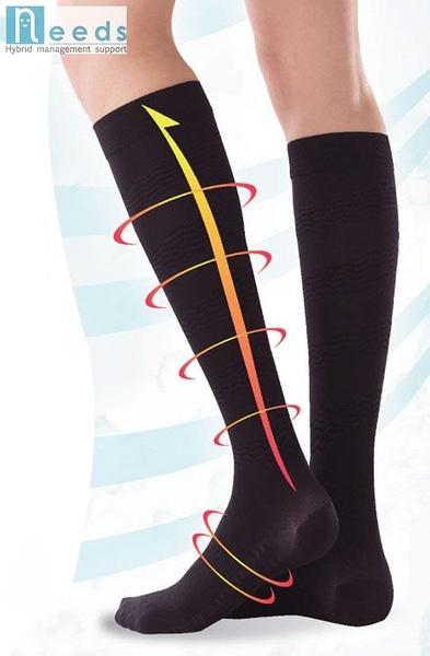 又敗家日本NEEDS薄型美腳加壓襪#78863黑色膝下長筒襪含鍺鈦銀薄型美脚ソックス美腳襪壓力按摩襪