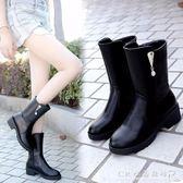 靴子女加絨短靴秋冬季棉鞋厚底中筒保暖靴高跟媽媽女鞋  水晶鞋坊