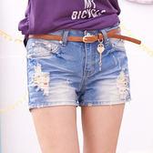 短褲 Ringbear眼圈熊-炎夏必備款.內層點點刷破淺色附皮帶牛仔短褲R111(S-7L)