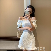 夏裝新款甜美一字肩木耳邊褶皺修身洋裝很仙小眾桔梗裙女 米娜小鋪