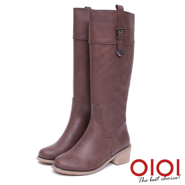 長靴 時尚前線金屬釦環長筒跟靴(咖) *0101shoes【18-1777co】【現貨】