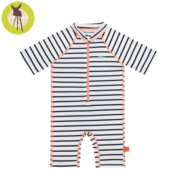 德國Lassig-嬰幼兒抗UV短袖連身式泳裝-粉紅小魚