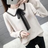 毛衣春裝款女蕾絲領毛衣新款寬鬆超火很仙上衣網紅慵懶風針織衫潮春季特賣