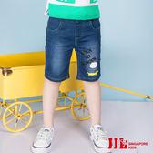 JJLKIDS 男童 街頭率性狗狗卡通牛仔五分褲(藍色)
