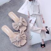 高跟拖鞋女2018夏季新款韓版女外穿露趾蝴蝶結潮款JA1156『伊人雅舍』
