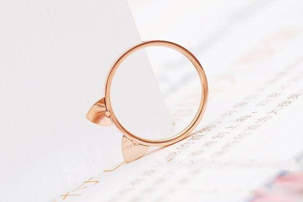star 鈦鋼系列-18k玫瑰金貓耳朵尾戒指環--生日情人節禮物A13