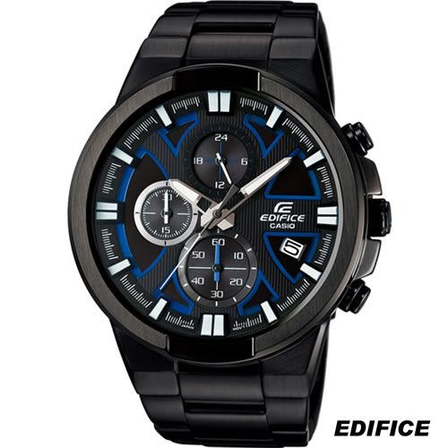 卡西歐 CASIO EDIFICE 立體感運動風計時腕錶 EFR-544BK-1A2 黑x藍