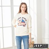 【JEEP】精緻立體圖騰長袖TEE-男女適穿-象牙白